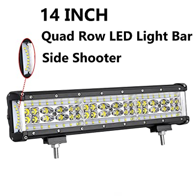 LED Light Bar, Moso LED 14 inch 250W LED Side Shooter LED Spot Flood Combo Light LED Driving Light LED Fog Light Work Light for Truck Jeep Off Road ATV SUV: Automotive [5Bkhe1008888]