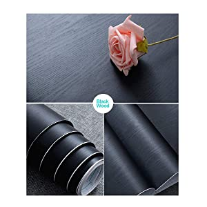 "17.71"" X 78.7"" Black Wood Contact Paper Decorative Self-Adhesive Film for Furniture Real Wood Tactile Sensation Surfaces Easy to Clean"