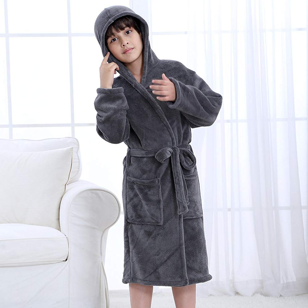 8-9 Year Hooded Herringbone Boys Fleece Grey Soft Spa Kimono Long Robe,Kids Comfy Sleepwear Bathrobe