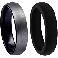 PAVOI Tungsten Rings for Men Wedding Engagement Band Brushed Black 6mm and 8mm Size 6-14 with Free Silicone Band