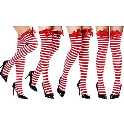 4 Pairs Christmas Striped Knee Socks Stripe Thigh High Stocking Long Striped Socks (Color Set 4): Clothing