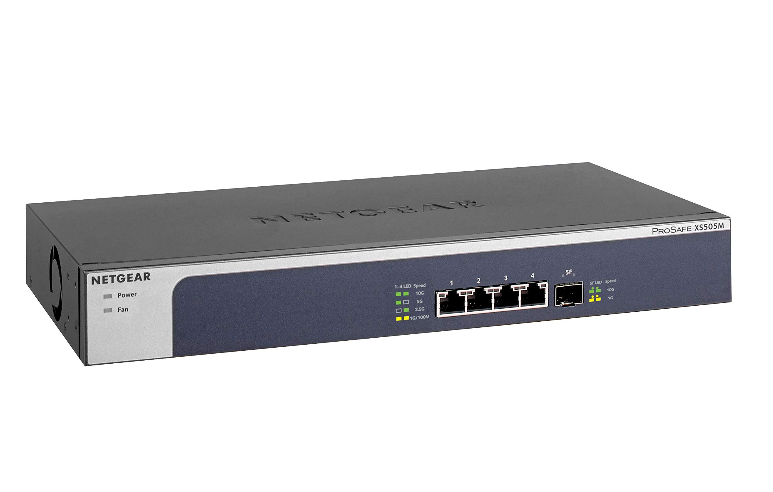 NETGEAR 5-Port 10G Multi-Gigabit Ethernet Unmanaged Switch (XS505M) - with 1 x 10G SFP+, Desktop/Rackmount, and ProSAFE Limited Lifetime Protection by NETGEAR