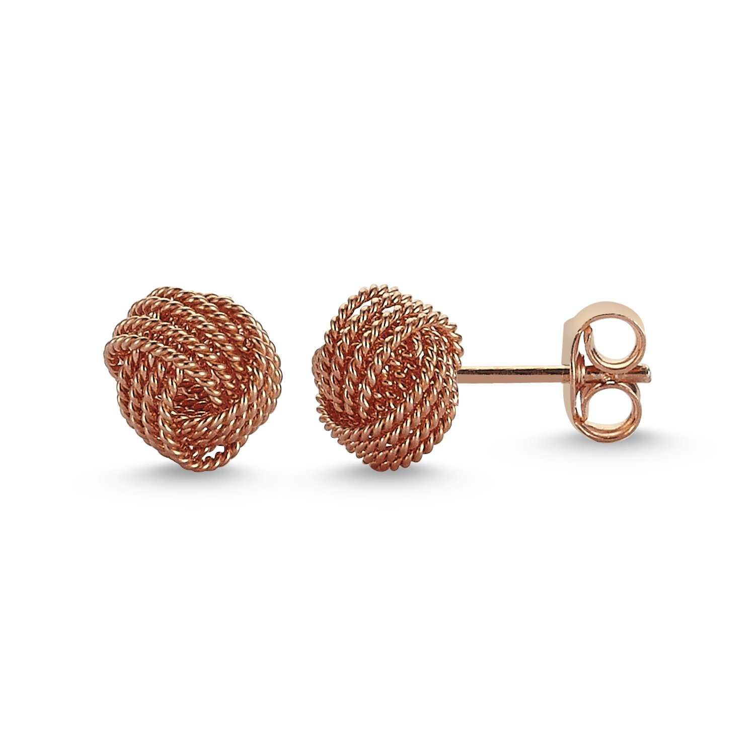 925 Solid Sterling Silver High Polished Braided 8mm KNOT Stud Earrings Rose Gold