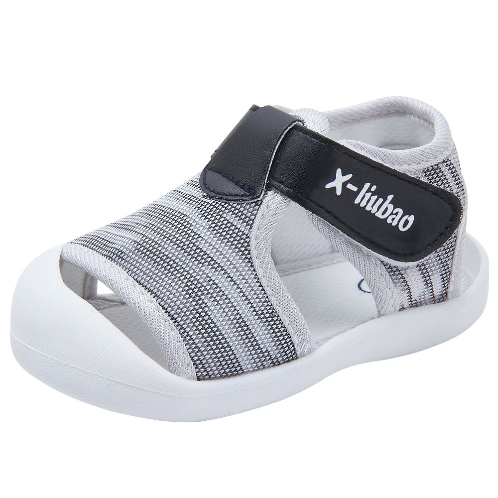 Baby Summer Sandals Breathable Mesh Rubber Sole Non-Slip Outdoor Shoes for Boys and Girls 9-24 Months (18(Inside length-13.6cm)(21-24months), Grey)