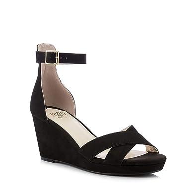 d9db39b20f8 Faith Womens Black Wust High Wedge Heel Wide Fit Sandals  Amazon.co ...