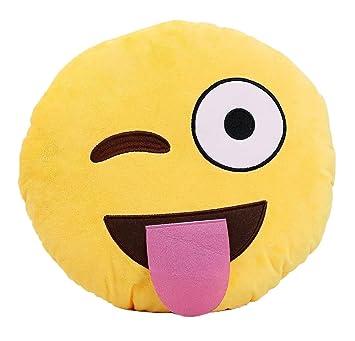 HACBIWA 32cm Emoji Smiley Emoticon Yellow Round Cushion Pillow Soft Toy (Tongue)