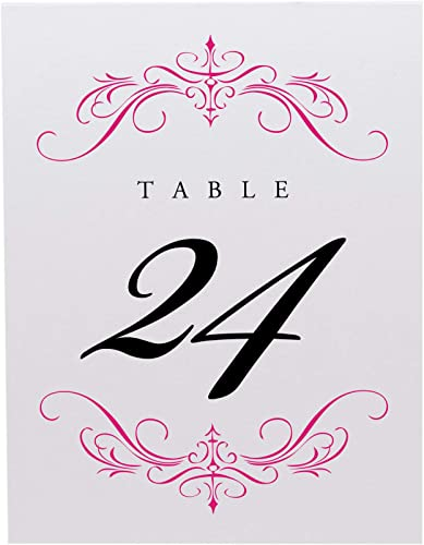 Documents and Designs Classic Flourish Table Numbers, Fuschia, 1-35, Perfect for a Wedding, Party, Restaurant, or Special Event