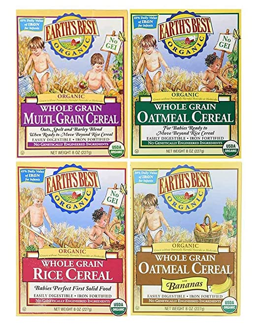 Earth's Best Organic Baby Cereal Bundle: Variety Pack of 4 Different Flavors, 8 oz