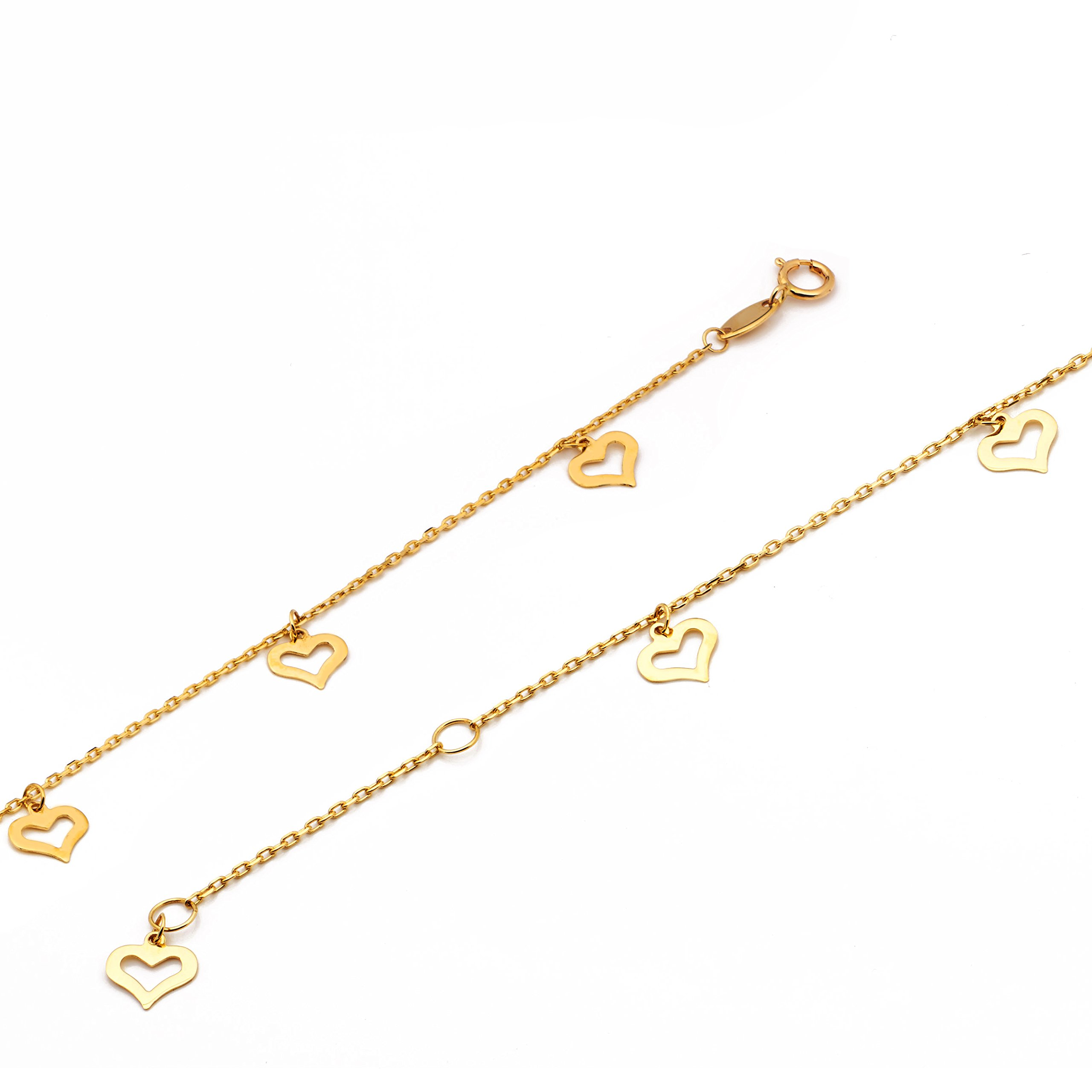 LOVEBLING 10K Yellow Gold .50mm Diamond Cut Rolo Chain with 8 Heart pendants Anklet Adjustable 9'' to 10'' (#12) by LOVEBLING (Image #3)
