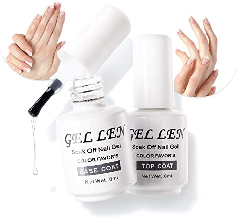 Gellen Top Coat And Base Coat For Gel Polish Long Lasting Shine Finish 8ml Each Bottle