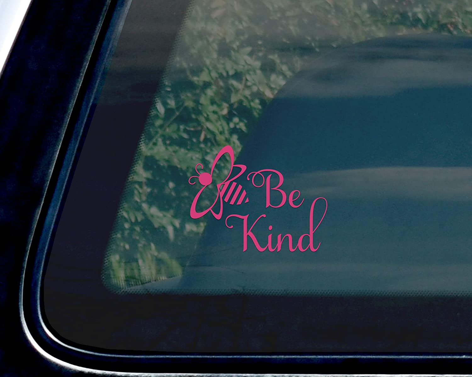Pink Bee Be Kind Vinyl Car Decal Vehicle Bumper Sticker 5 x 4 inches