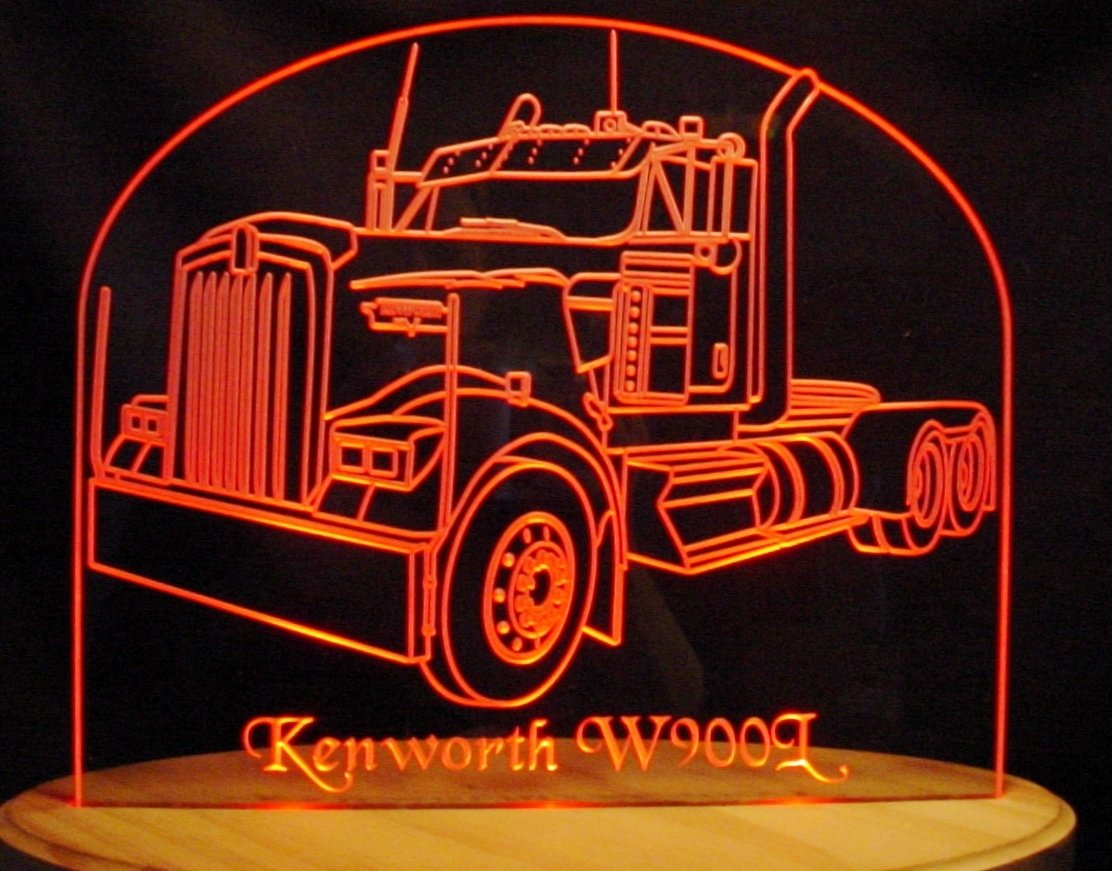 Semi Truck No Sleeper KW W900L Acrylic Lighted Edge Lit 13'' Oval Wood Base 3 LED Sign Light Up Plaque VVD16 Made in the USA