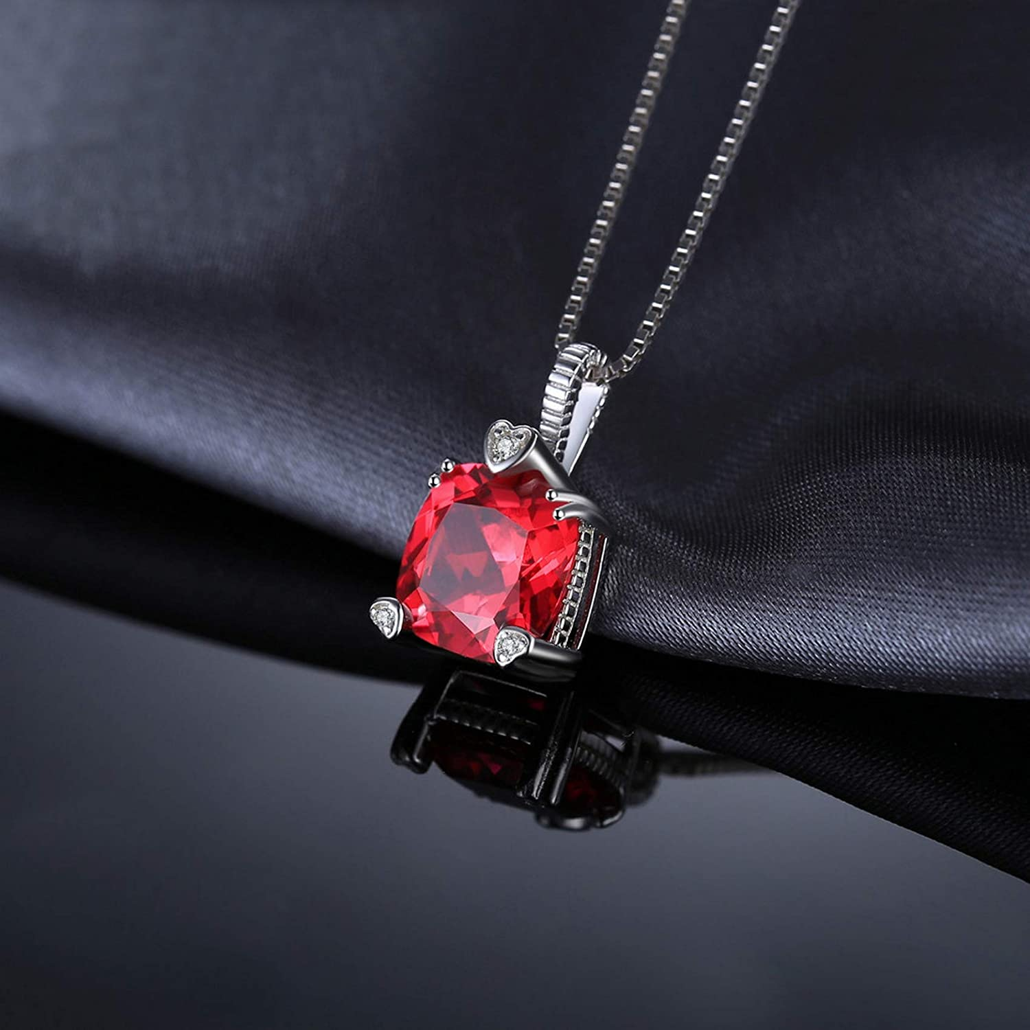 MMC Silver Necklaces 4.7ct Square Ruby Wedding Style Womens Pendants