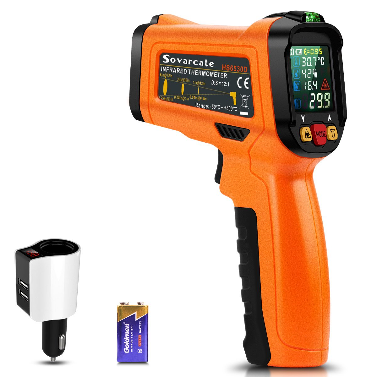 sovarcate Infrared Thermometer, Non Contact Kitchen Thermometer for Food/Air Conditioning/BBQ/Cooking/Industrial and Automotive Thermometer with Laser, Free 2.1A Car Charger