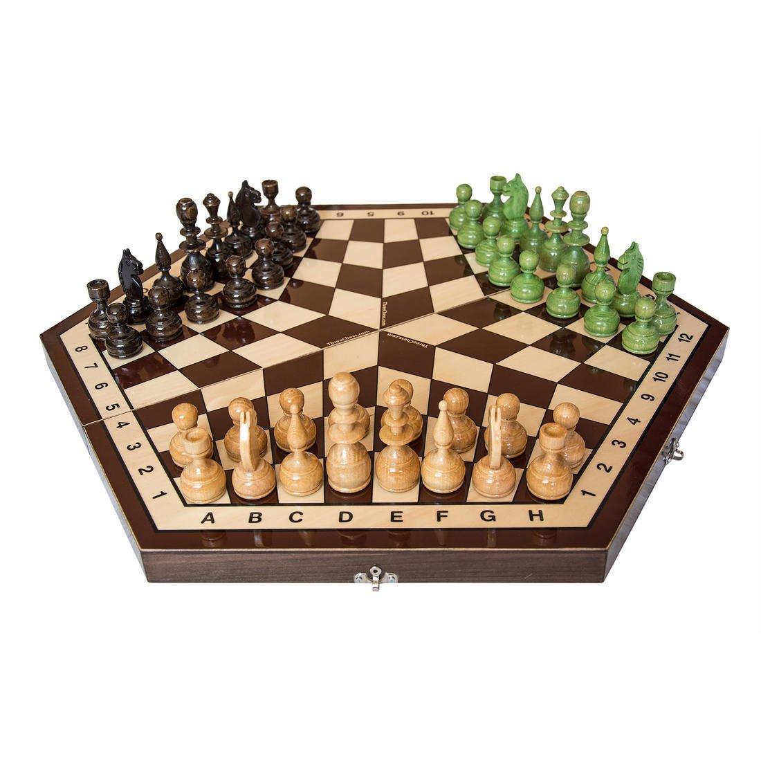 ThreeChess Schachspiel für 3 Spieler : Luxus-Schachbrett