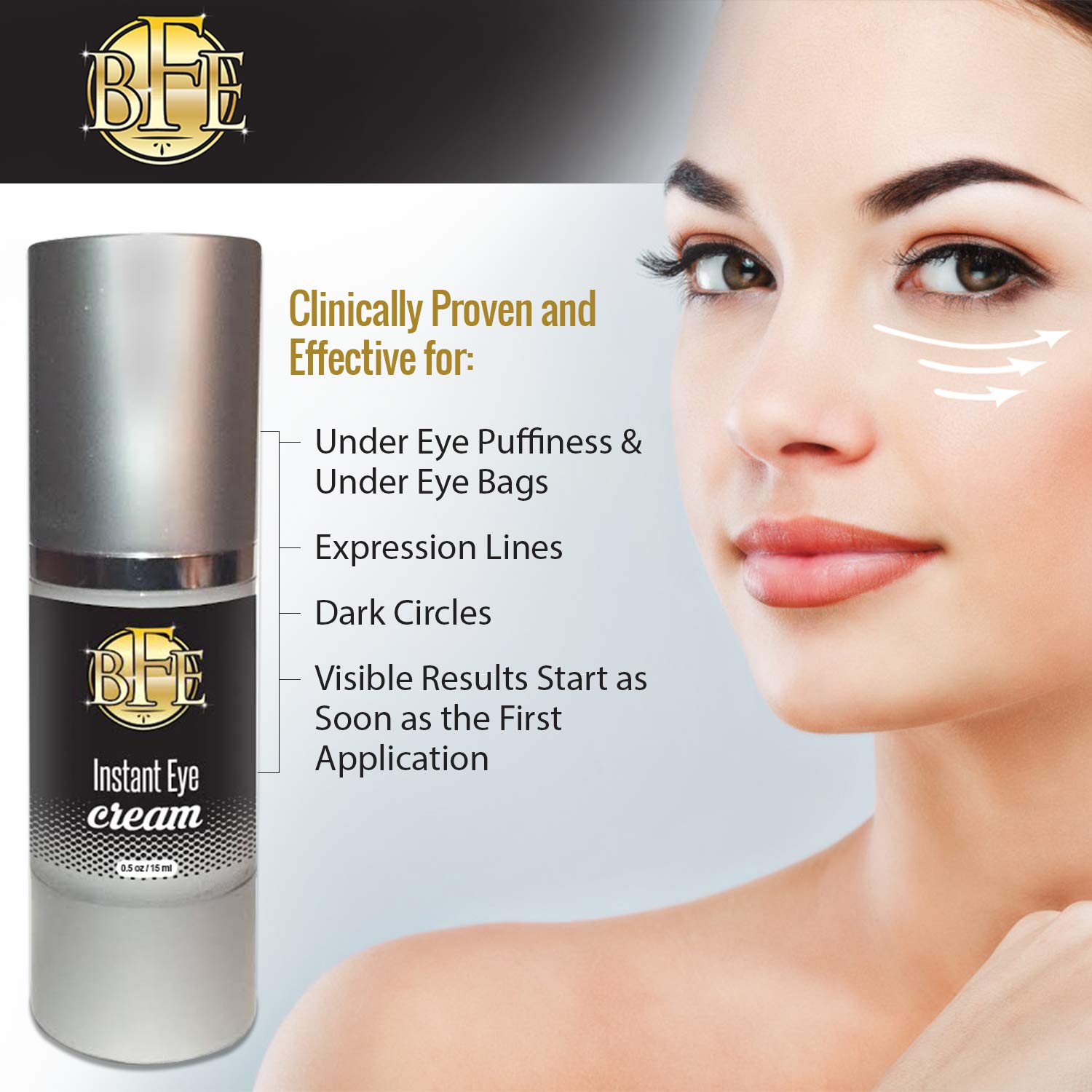 Instant Ageless Eye Cream - Dark Circles & Under Eye Puffiness Remover   Lift Technology to