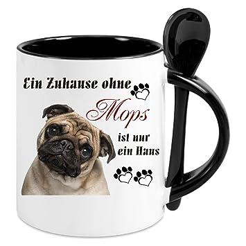 Kaffeetasse M Löffel Ein Zuhause Ohne Mops Kaffeetasse Mit Motiv Bedruckte Tasse Mit Sprüchen O Bildern Auch Indiv Gestaltung Nach
