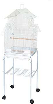 YML 5944 3/8-Inch Bar Spacing Pagoda Bird Cage with Stand, 18-Inch by 18-Inch/Small, White