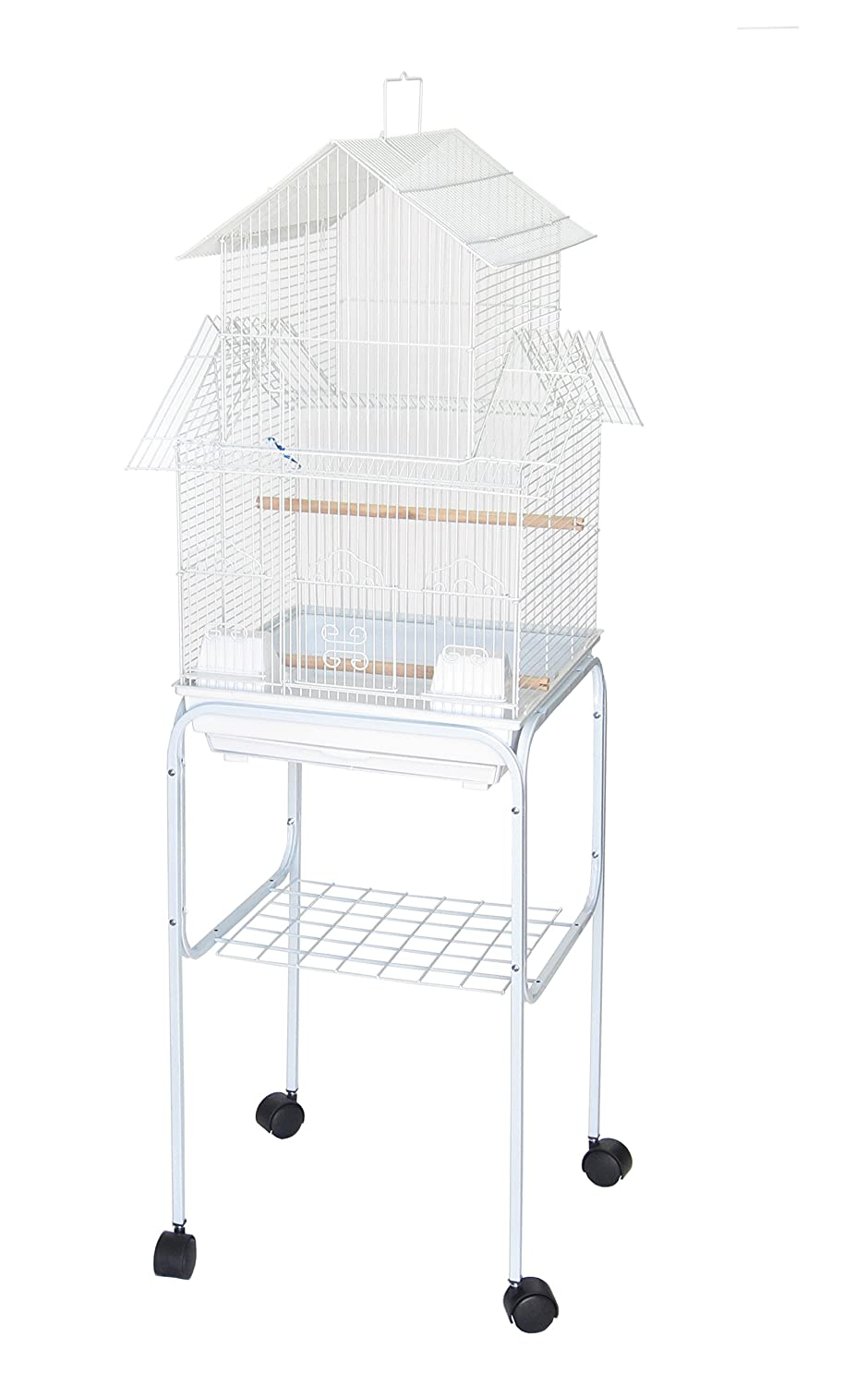 YML 5944 3/8-Inch Bar Spacing Pagoda Bird Cage with Stand, 18-Inch by 18-Inch/Small, White 5944_4814WHT