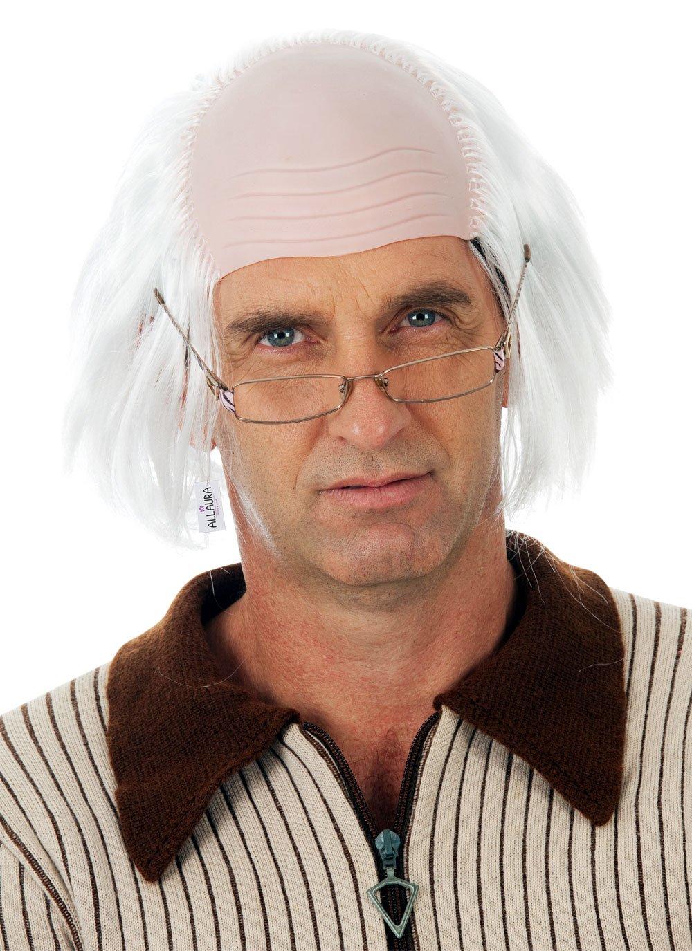 Old Man Wig Benjamin Franklin Wigs or Albert Einstein Costume – Bald Grandpa