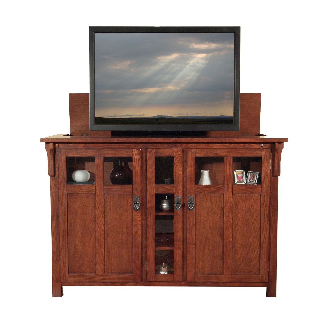 Touchstone 70062 – Bungalow TV Lift Cabinet Chestnut Oak – Up to 60 Inch TVs Diagonal 55 in Wide – Mission Style Motorized TV Cabinet – Pop Up TV Cabinet with Memory Feature, IR RF, 12V Trigger