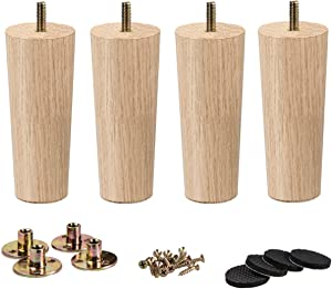4.72 inch / 12cm Wooden Furniture Legs, La Vane Set of 4 Solid Wood Tapered M8 Replacement Furniture Feet with Pre-Drilled 5/16 Inch Bolt & Mounting Plate & Screws for Couch Sofa Cabinet Ottoman