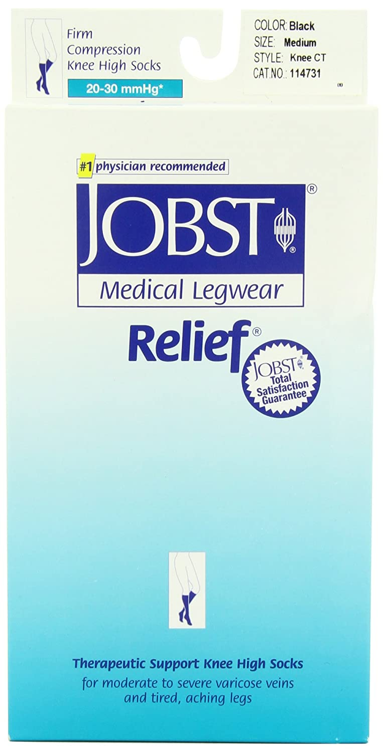 Jobst Medical Legwear, Relief, Knee CT, Medium, Black, 20 - 30 mmHg