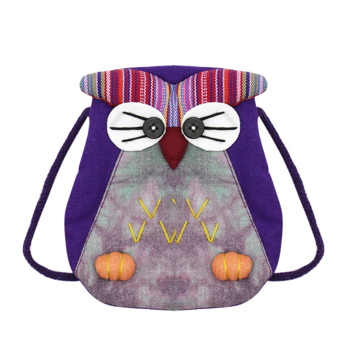 Cute Owl Shaped Zippered Crossbody Coin Purse Mini Handmade Cotton Shoulder Bag for Girls Bolley Joss