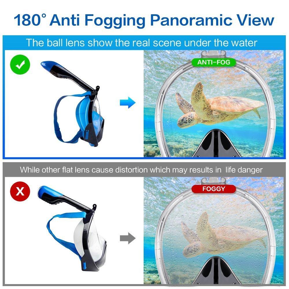 Vollgesichts Atmung Schnorchelmaske für Erwachsene und Jugendliche. Revolutionäre voll trockenen Tauchermaske mit Anti-Fog-und Anti-Leak-Technologie. Besser sehen mit 180 ° Betrachtungsfläche als herkömmliche Masken (blau und schwarz-2, L/X
