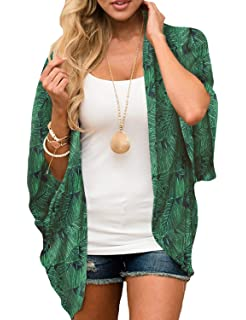 Amazon.com: PINKMILLY - Kimono de gasa para mujer, estampado ...