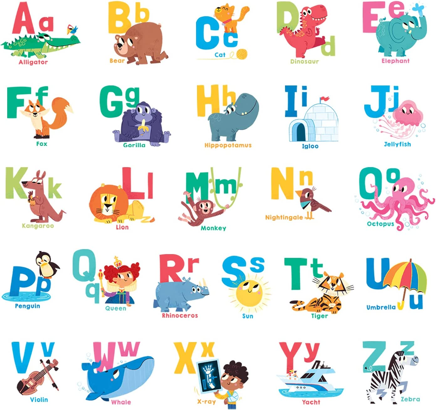 DECOWALL DWL-2101 Alphabet Wall Stickers Decals Peel and Stick Removable for Kids Nursery Bedroom Living Room art murals decorations decor decorative repositionable bathroom kitchen toddlers girls baby…