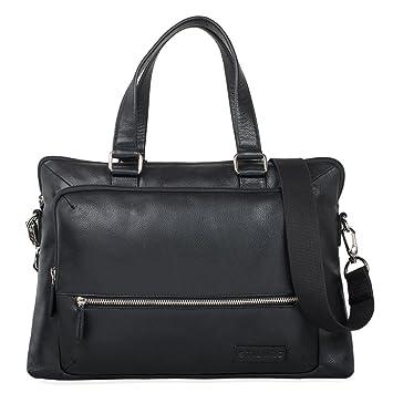 STILORD 'Lean' Sac à bandoulière grand cuir sac à main classique sac d'affaires serviette de travail sac à l'épaule pour l'université collége laptop 13,3 pouces, Couleur:terra - marron
