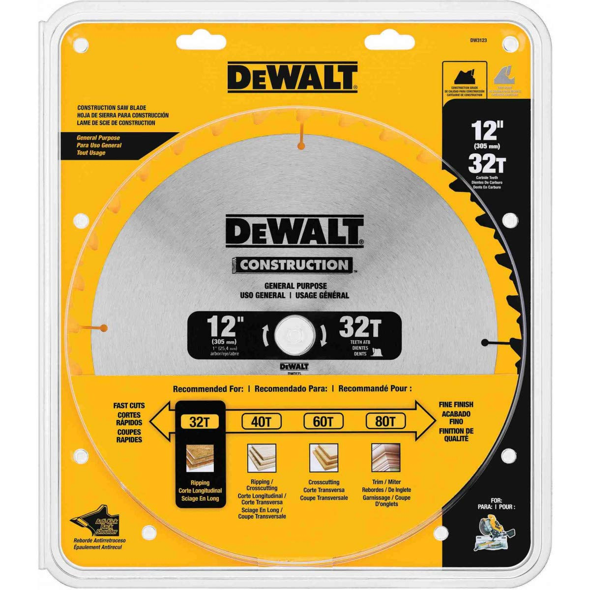 DEWALT DW3123 Series 20 12-Inch 32 Tooth ATB Thin Kerf General Purpose Miter Saw Blade with 1-Inch Arbor by DEWALT