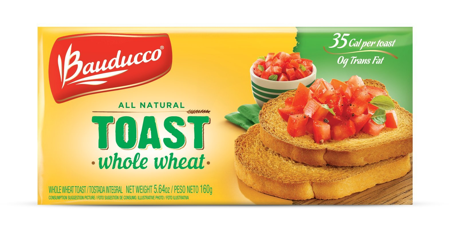 Bauducco Toast, Whole Wheat, 5.64-Ounce Boxes (Pack of 16)
