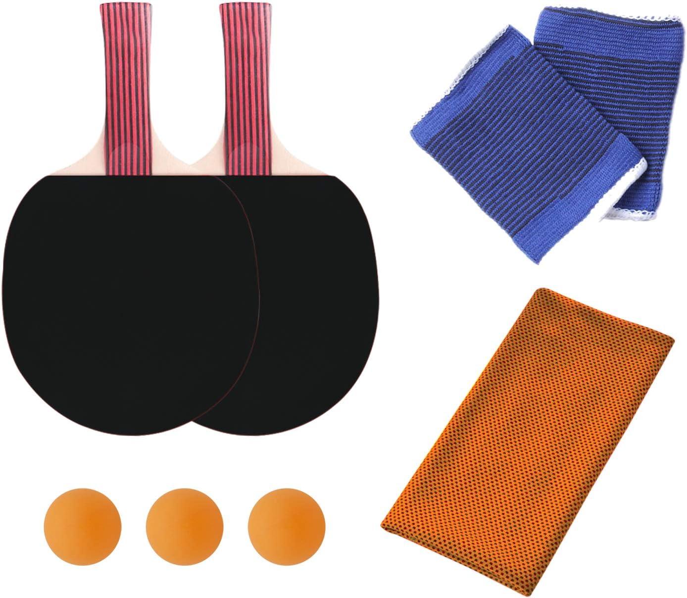 KINDOYO Palas Tenis de Mesa - 2 Raqueta y 3 Bolas Escuela Deportes en Casa