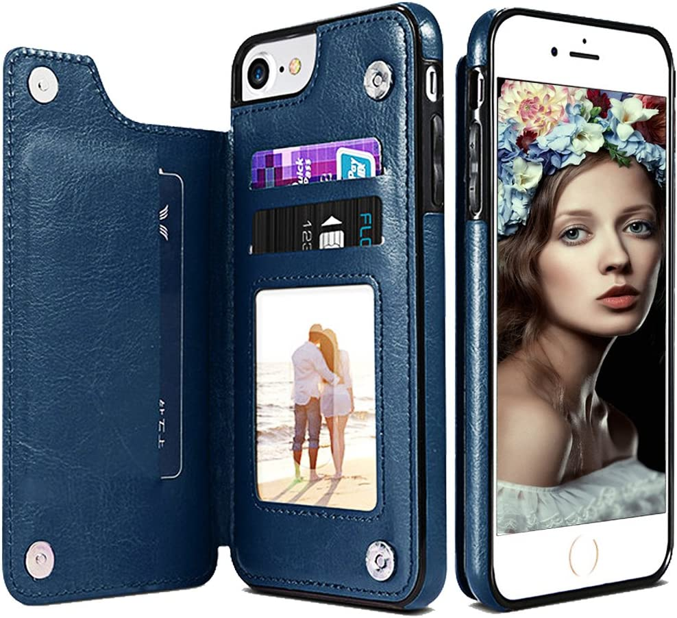 iPhone 6S Wallet Case,iPhone 6 Leather Case with Card Holder,Auker Shockproof Folio Flip Stand Rugged Protective Magnetic Slim Fit Purse Wallet Case with Money Pocket for Women/Men iPhone 6S/6 (Navy)