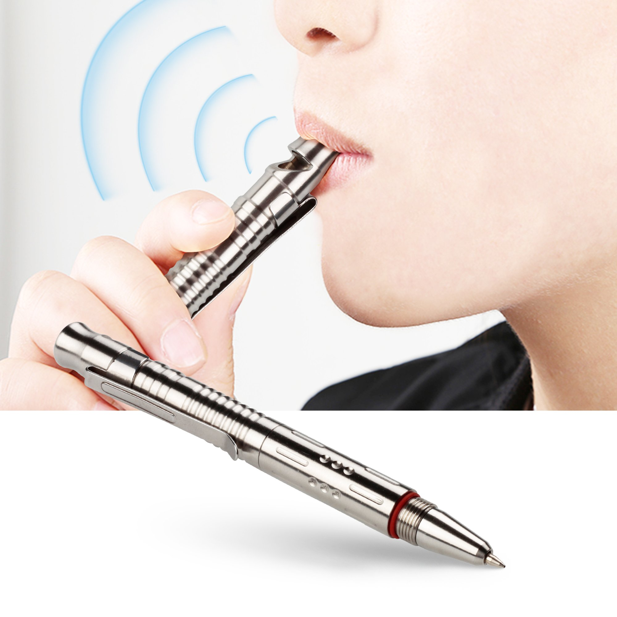 Stainless Steel Tactical Pen with Whistle and Refill Cap & Clip for Outdoor Car Office Home Signature Gift Self Defense Alarm Uses, EDC Self Protection Tool Pen with 2 Smooth Black Writing Refills