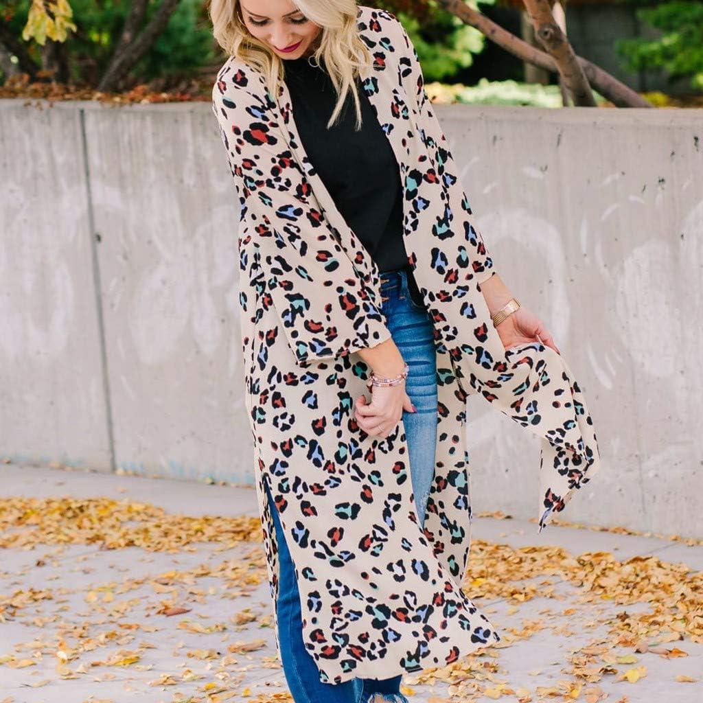 Lataw Fashion Womens Coats Open Front Jacket Leopard Long Sleeve Lightweight Overcoat Cute Cardigan Costume Outerwear