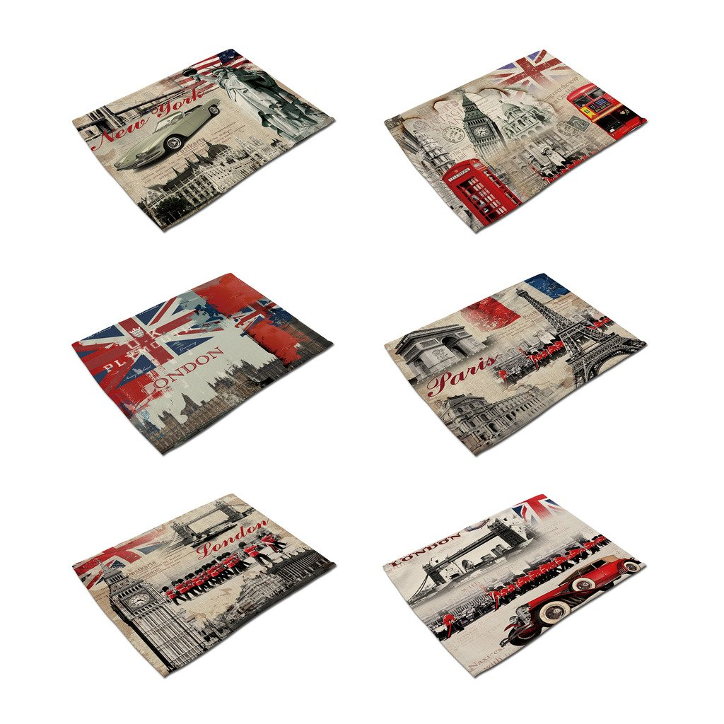Hacaso Set of 6 Vintage Style London Pattern Dining Table Mats Cotton Linen Placemats