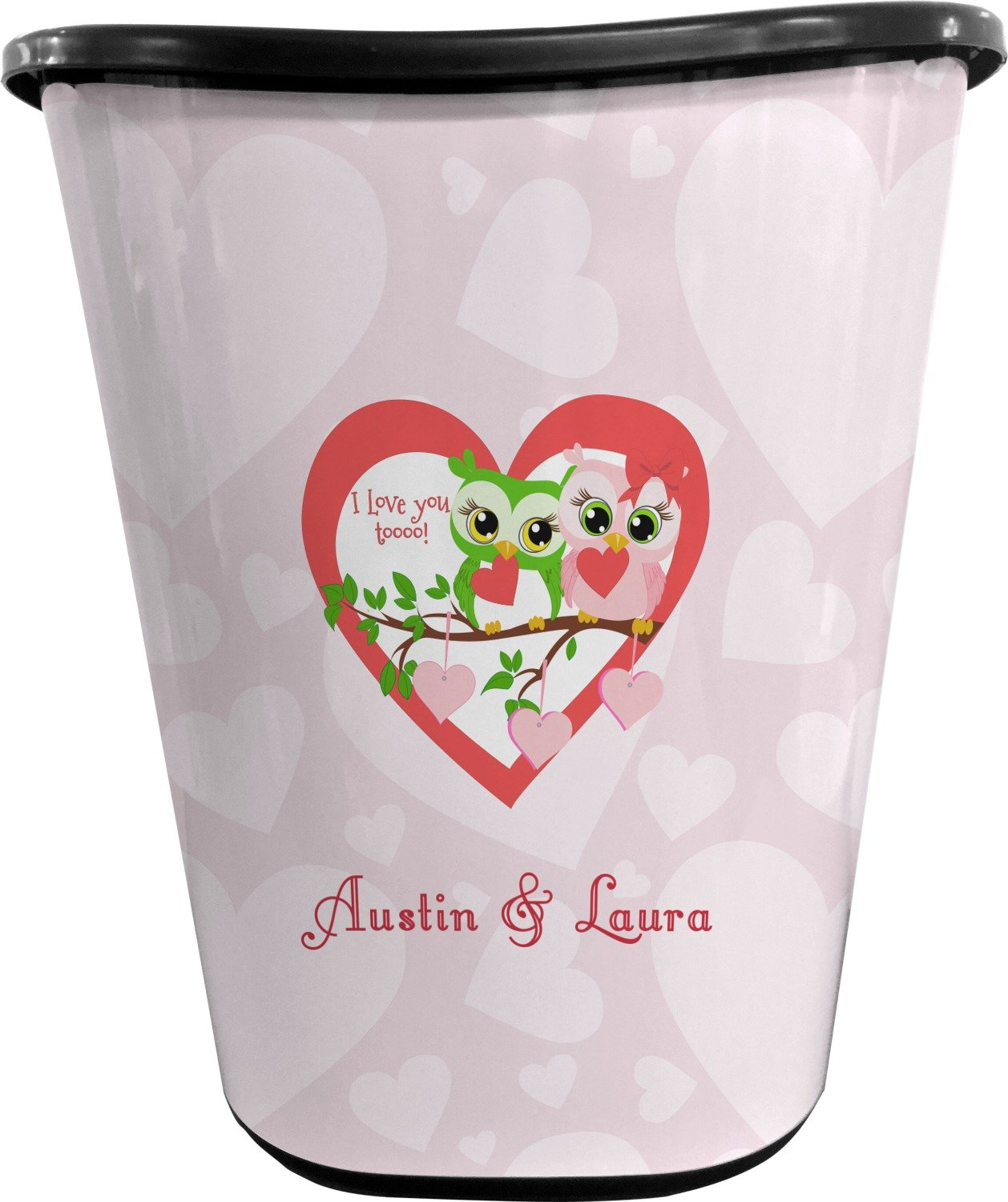 RNK Shops Valentine Owls Waste Basket - Double Sided (Black) (Personalized)