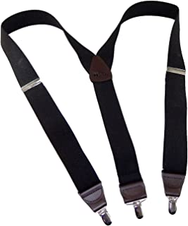 """product image for Holdup Brand Black Pack Casual Series Y-back Suspenders 1 1/2"""" wide with Silver Tone No-slip Nickel Clips"""