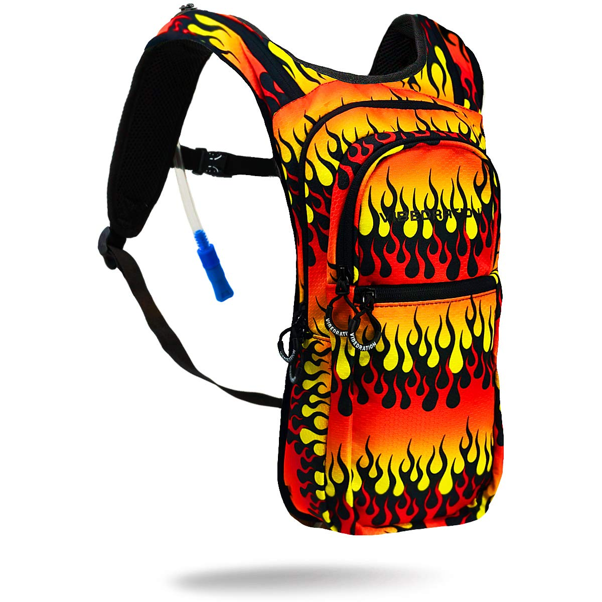 Vibedration VIP 2 Liter Hydration Pack | Festival Rave Hydration, Hiking Camping Backpack (Fire AF)
