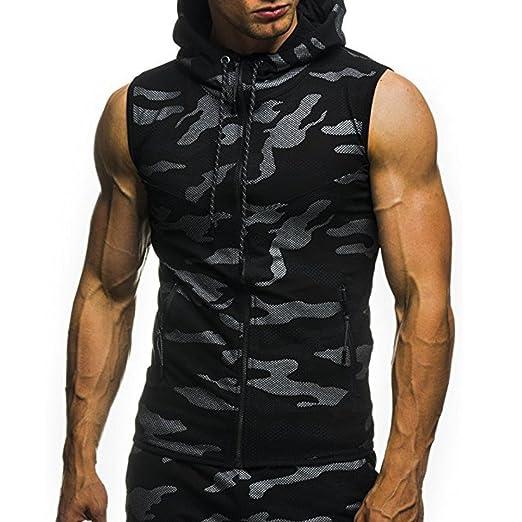 02e21ddc2dd0f Realdo Mens Camouflage Tank Tops, Casual Print Hooded Zipper Sleeveless Top  Vest(Black,