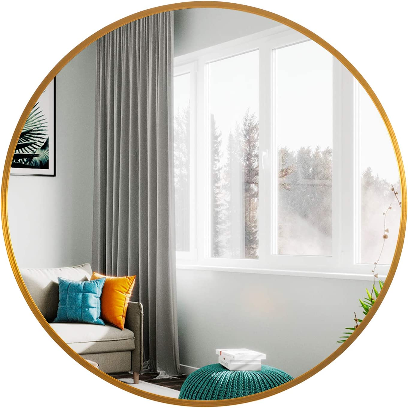 Leafshop Cheap mail order specialty store Leafmirror Round Wall Mirror Frame Circle Ranking TOP11 Metal Large V
