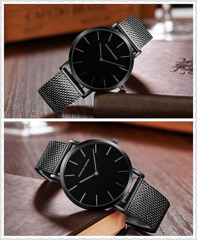 Men Watch, Lananas Minimalist Style Waterproof Anolog Business Quartz Mesh Stainless Steel Wristwatch with Gift Box (Black) | Amazon.com