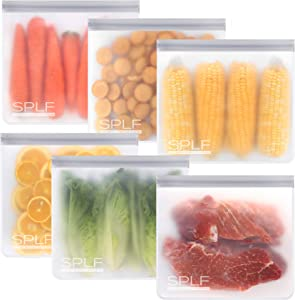 SPLF 6 Pack BPA FREE Reusable Gallon Freezer Bags, Extra Thick Reusable Storage Bags Leakproof Silicone and Plastic Free for Marinate Meats, Cereal, Sandwich, Snack, Travel Items, Home Organization