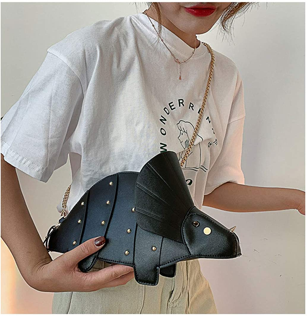 Girls Cute Rivet Solid Color Dinosaur Shape Zip Wallet Purse Mini Shoulder Bag