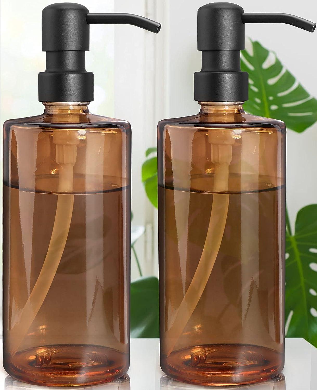 Lamorgift 16 Oz Amber Glass Hand Soap Dispenser - Liquid Dish Soap Dispenser for Kitchen Sink- Bathroom Soap Dispenser with Stainless Steel Pump for Soap, Lotion, Essential Oils (2 Pack)
