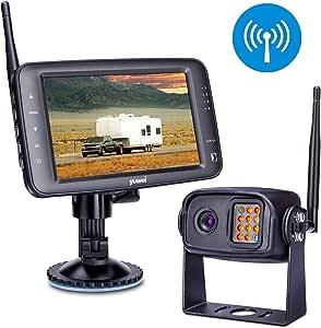 Wireless Backup Camera System, IP69K Waterproof Wireless Rear View Camera + 5'' LCD Wireless Reversing Monitor for Trailer, RV, Trucks, Horse-Trailer, School Bus, Farm Machine,etc