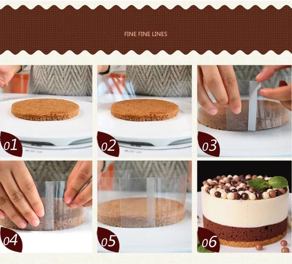 transparente Mousse Cuello para tartas 8 cm As Picture Show borde redondeado membrana para hornear hoja de acetato para chocolate mousse pastrycake cinta perimetral